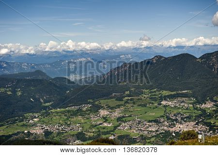 Overview summer of Cavalese in the Trentino Alps