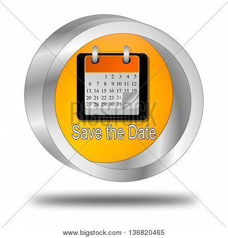orange Save the Date Button - 3D illustration