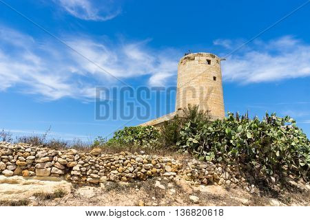 Old mill between Nadur and Qala on the island of Gozo part of Malta