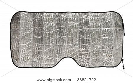 Sunshade for windshield (with clipping path) isolated on white background