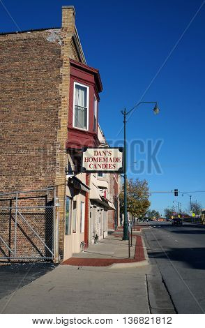 JOLIET, ILLINOIS / UNITED STATES - NOVEMBER 1,2015: Dan's Homemade Candies offers a wide variety of snacks and treats in downtown Joliet.