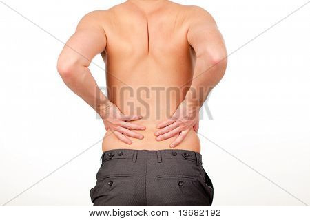 Young Man with backpain isolated against a white background