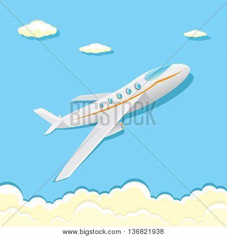 vector cartoon airplane flying in blue sky