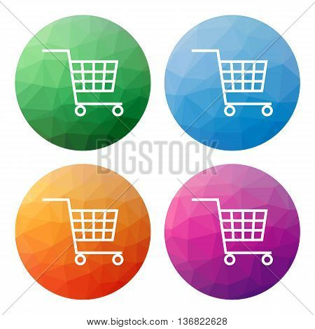 Set  Of 4 Isolated Modern Low Polygonal Buttons - Icons - For Shopping Cart