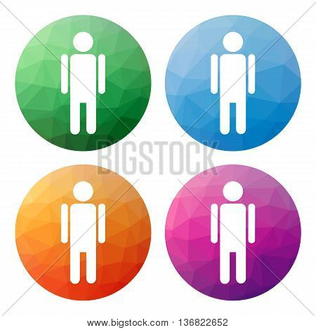 Set Of 4 Isolated Modern Low Polygonal Buttons - Icons - For Male, Man, Boy, Gender (sex)