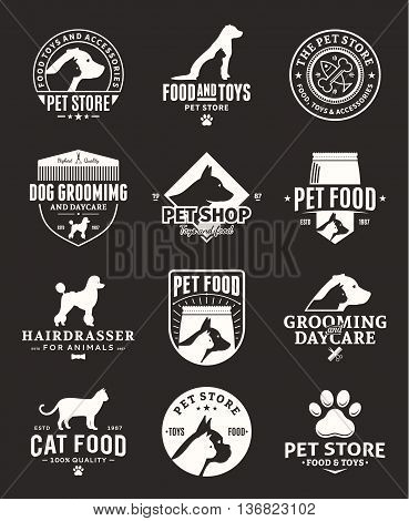 Set of vector pet logo and icons for pet club or shop barberry sport club food or veterinary clinic.