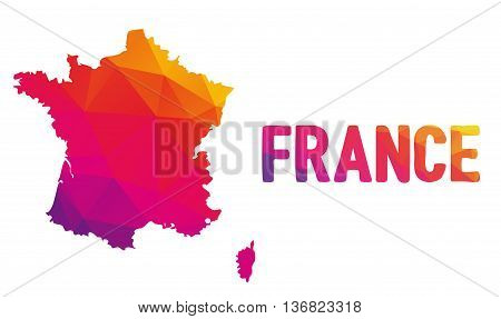 Low Polygonal Map Of France In Warm Colors, Mosaic Abstract Geometry Cartography
