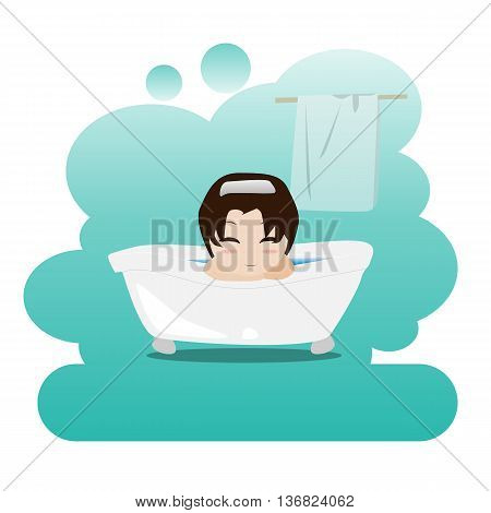 Man taking a relaxing bubble bath in the bathroom. Shower. Picture on personal hygiene. Vector illustration. EPS10