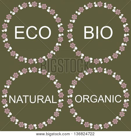 Set of labels and badges with leaves for organic natural bio and eco products isolated on white background