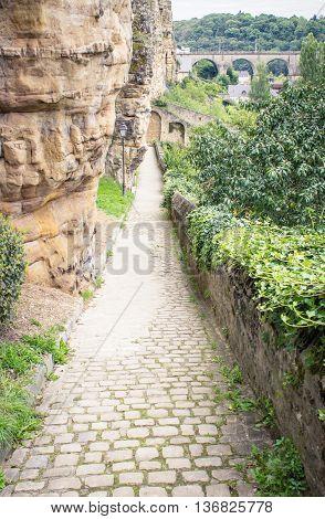Cobblestone walking path in Luxembourg's Grund Valley