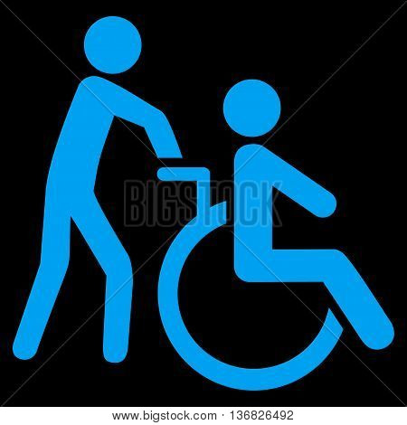 Disabled Person Transportation vector icon. Style is flat icon symbol with rounded angles, blue color, black background.