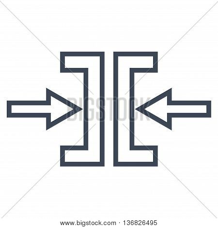 Pressure Horizontal vector icon. Style is contour icon symbol, smooth blue color, white background.