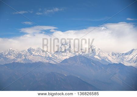 Dhaulagiri mountain view with blue sky beautiful Himalaya range landscape in Nepal