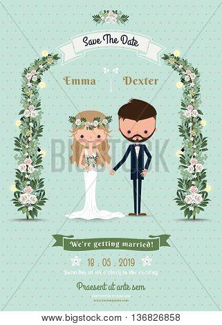 Hipster wedding invitation card bride & groom cartoon beach theme on polka dot background
