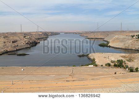The Lake Nasser near Aswan in Egypt