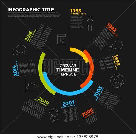 Vector Infographic circular timeline report template with the biggest milestones, icons and years - dark template version