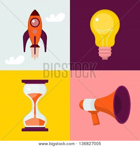Set of flat icons : rocket light bulb sand clock megaphone.