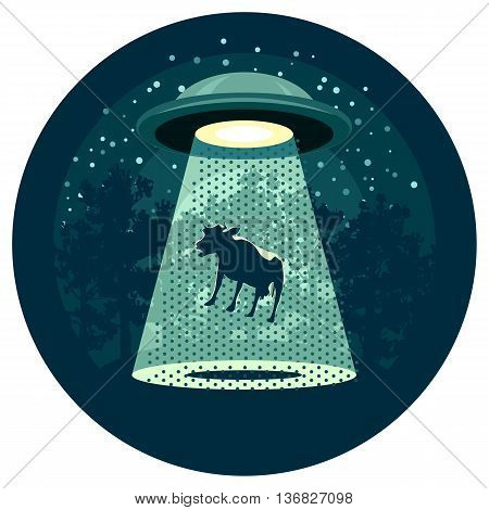 Flying saucer catching a cow in the night wood. UFO concept.