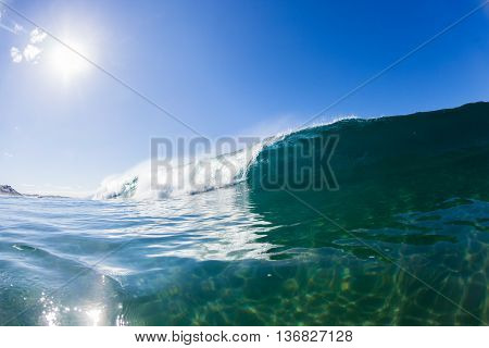 Wave blue ocean inside hollow crashing water swimming  photo.