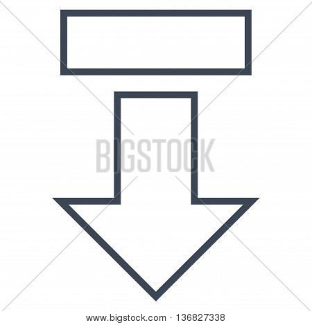 Pull Arrow Down vector icon. Style is stroke icon symbol, smooth blue color, white background.