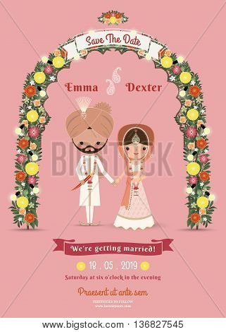 Indian Wedding Bride & Groom Cartoon Romantic Pink Invitation Card on Pink Background