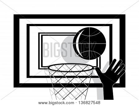 icon basketball. Shield with mesh and hand with the ball.