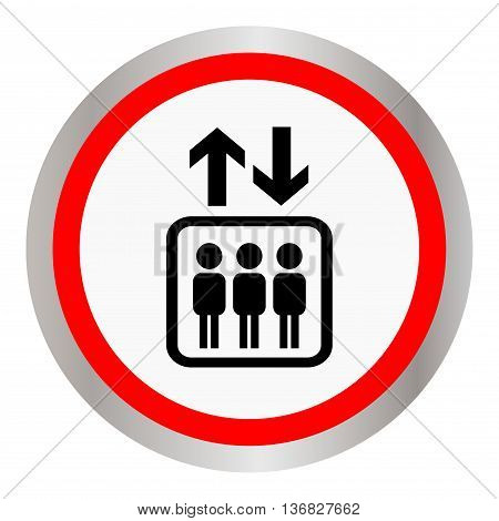 Round icon with the image of the elevator with people. Vector illustration.