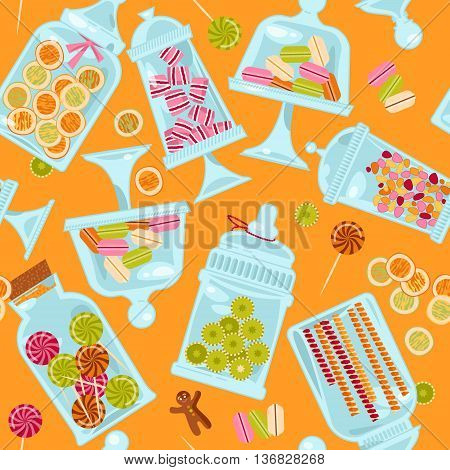 Sweet shop. Glass jars of various forms with diferent candies. Seamless background pattern. Vector illustration