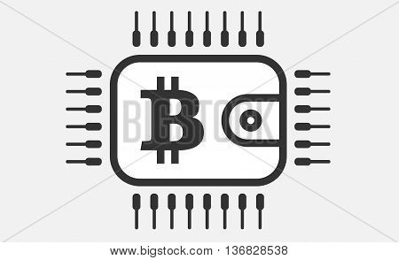 Bit coin wallet computer processor CPU icon.