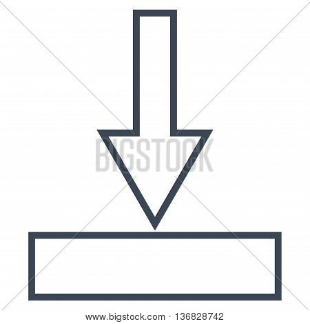 Push Down vector icon. Style is outline icon symbol, smooth blue color, white background.