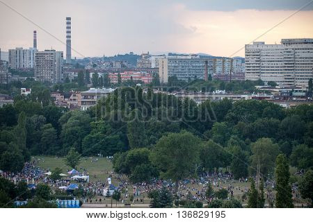 Sofia, Bulgaria - 3 July, 2016: documentary editorial shot of the crowd at The International A to JazZ festival, 2016 edition, held in the beautiful South Park of the city