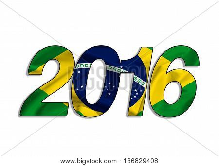 2016 written on silk brasilian waving flag