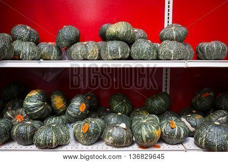 Squash Kabocha at Chinatown fruit market in New York City