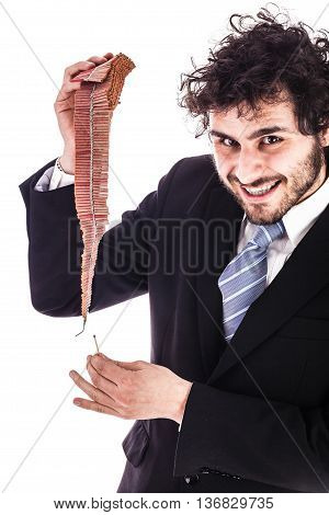Smiling Businessman Lighting Firecrackers