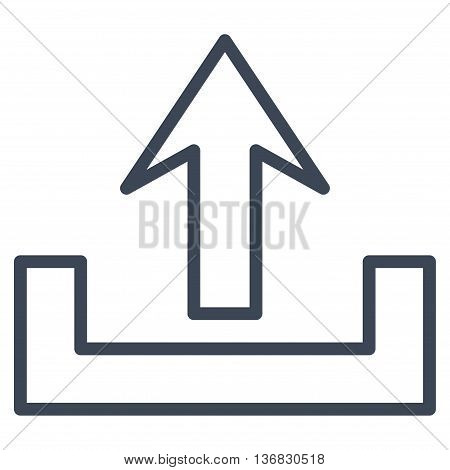 Upload vector icon. Style is outline icon symbol, smooth blue color, white background.