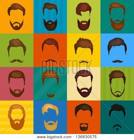 Mans hair set of beards and mustaches vector. Hipster style fashion beards and hair isolated illustration. Peoples hairstyle icon, collection of beards and mustaches for barbershop.Mans trendy haircut types for barber shop.