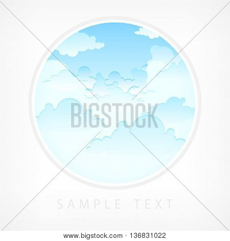 Blue sky in round lens view vector illustration