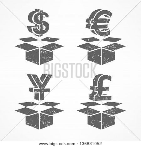 Money Signs In Boxes