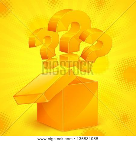Question Marks In Box Yellow
