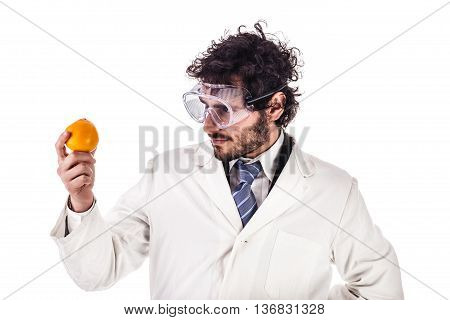 Researcher Looking At An Orange