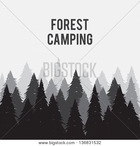 Coniferous pine forest vector illustration eps 10