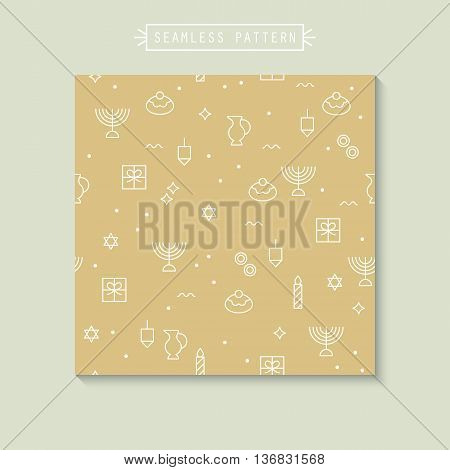 Seamless pattern with Hanukkah flat line icons on golden background