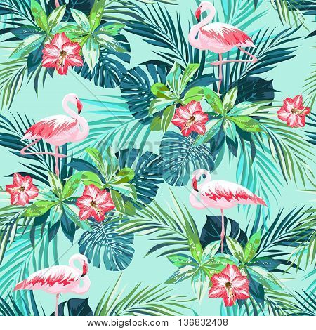 Tropical summer seamless pattern with flamingo birds and jungle flowers, vector illustration