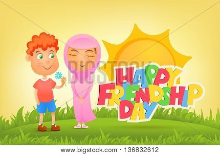 Ilustration with ginger boy and muslim girl. Friendship day concept.