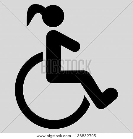 Disabled Woman vector icon. Style is flat icon symbol with rounded angles, black color, light gray background.