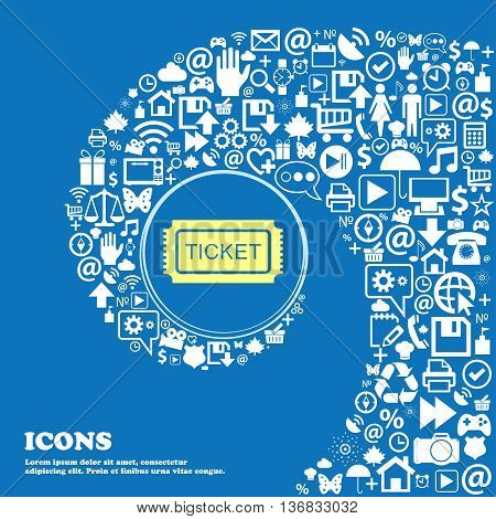 Ticket Sign Icon . Nice Set Of Beautiful Icons Twisted Spiral Into The Center Of One Large Icon. Vec