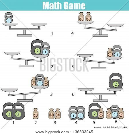 Mathematics educational game for children. Balance the scale. Learning counting mathematical equation weights and algebra