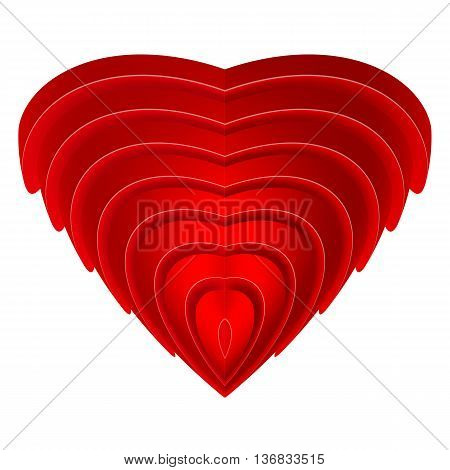 Red embossed heart isolated on a white background