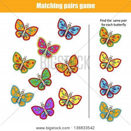 Matching pairs game for kids. Find the right pair for each butterfly children educational game
