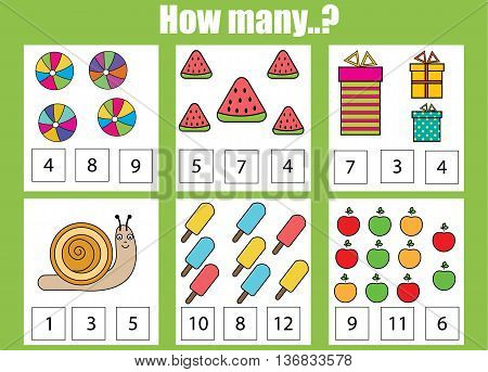 Counting educational children game. How many objects task. Learning mathematics numbers addition theme